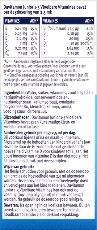 Davitamon Junior Vloeibare vitamines Ingredienten