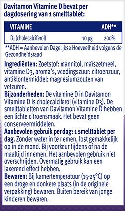 Davitamon Vitamine D volwassenen Smelttabletten Ingredienten