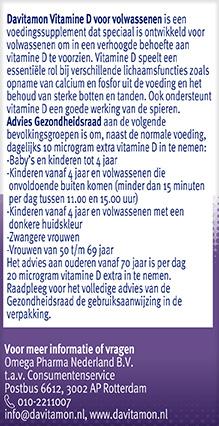 Davitamon Vitamine D Volwassenen Smelttabletten Gezondheidsraad