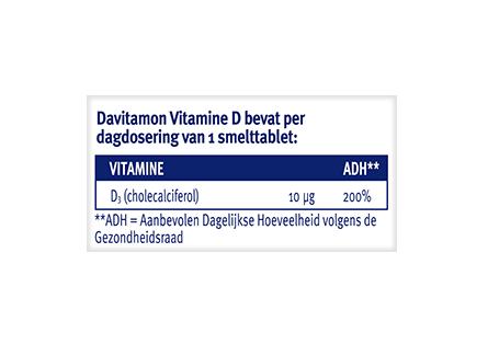 Davitamon Vitamine D Volwassenen Smelttabletten Dosering 2