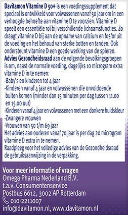 Davitamon Vitamine D 50+ Smelttabletten Gezondheidsraad