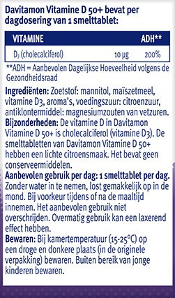 Davitamon Vitamine D 50+ Smelttabletten Ingredienten