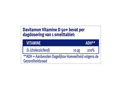 Davitamon Vitamine D 50+ Smelttabletten Dosering