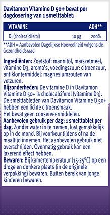 Davitamon Vitamine D 50+ Smelttabletten Ingredienten 2