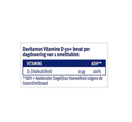 Davitamon Vitamine D 50+ Smelttabletten Dosering 2