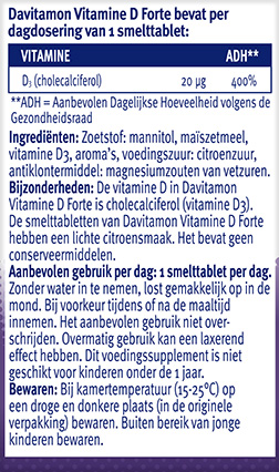 Davitamon Vitamine D3 Forte Smelttabletten Ingredienten