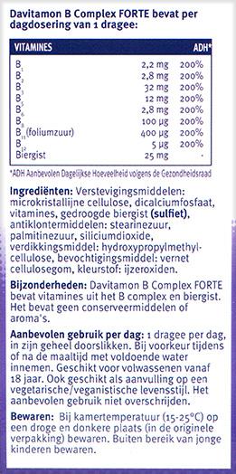 Davitamon B Complex Forte Dragees Ingredienten