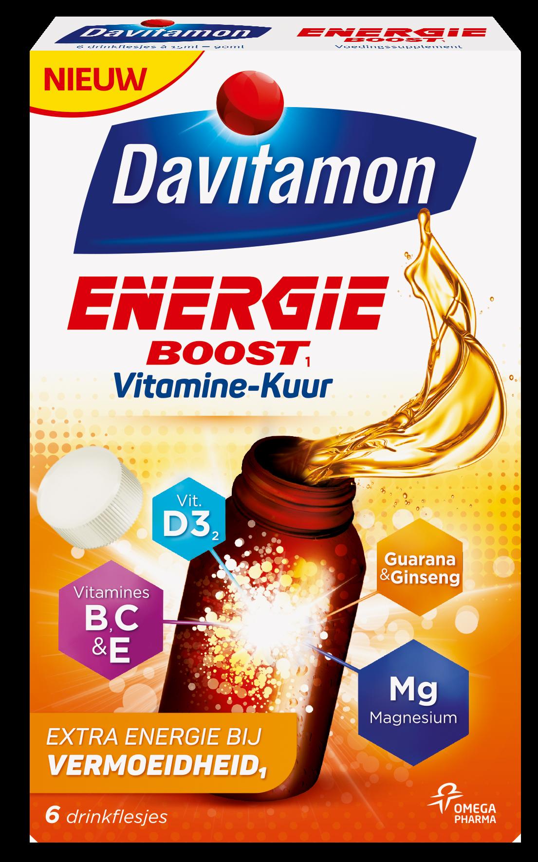 Davitamon Energie Boost Vitaminekuur Drinkflesjes Verpakking