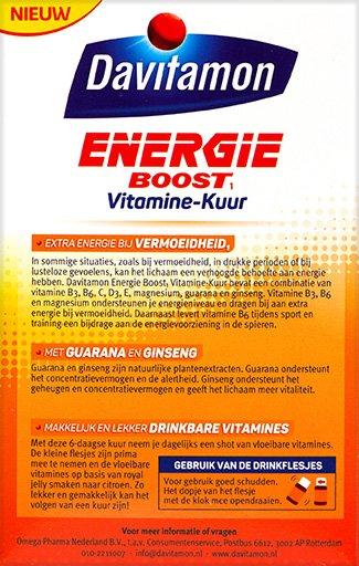 Davitamon Energie Boost Vitaminekuur Drinkflesjes Beschrijving