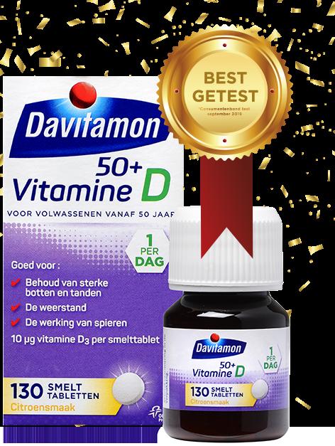Davitamon Vitamine D 50<sup>+</sup> – <br>130 smelttabletten