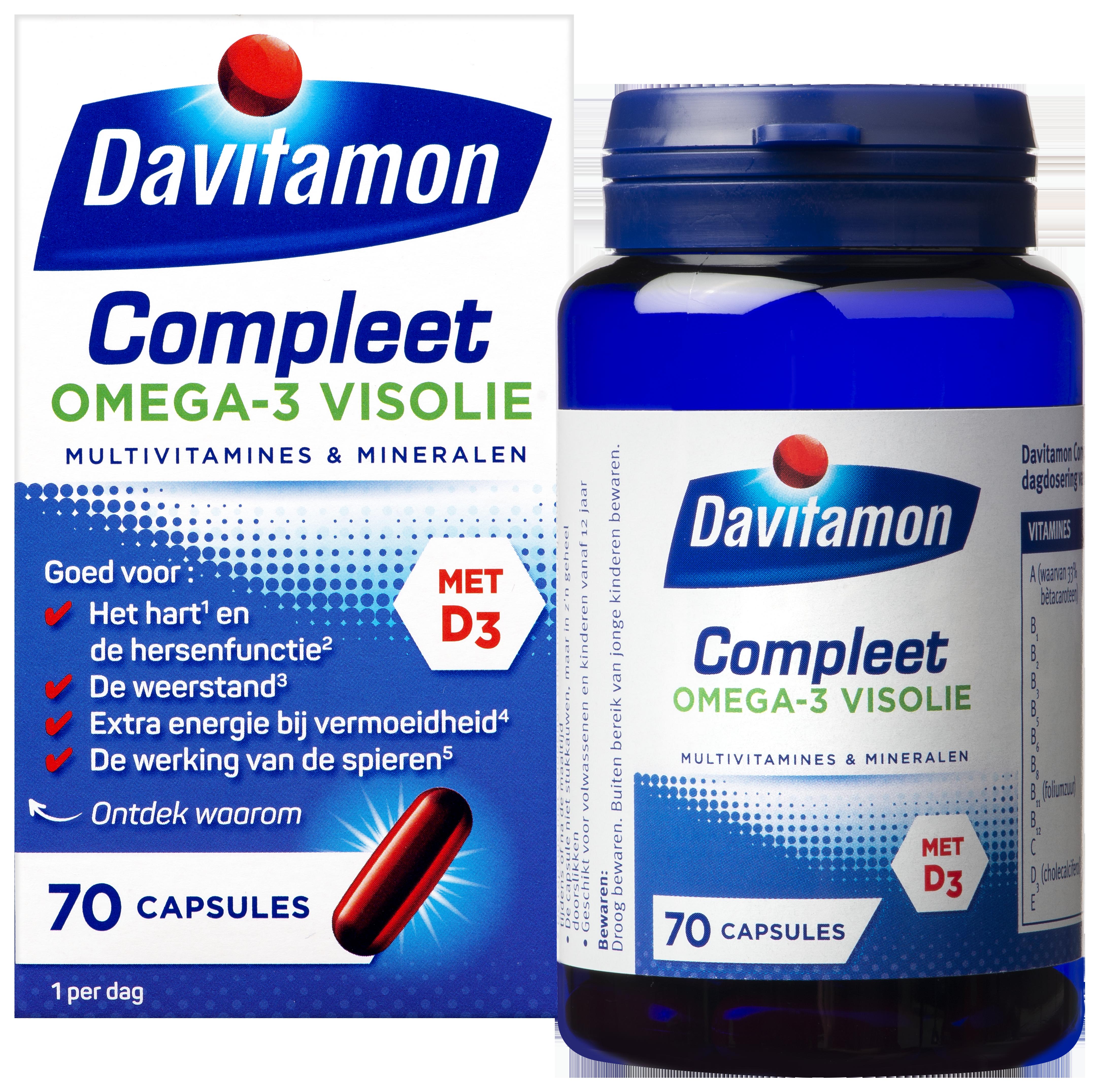 Davitamon Compleet Omega-3 Visolie – 70 capsules