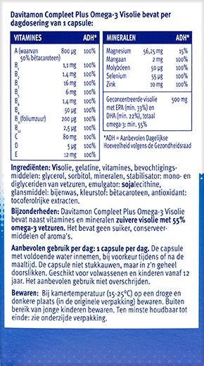 Davitamon Compleet Omega 3 Capsules Ingredienten