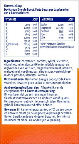 Davitamon Energie Boost Forte Kauwvitamines Ingredienten