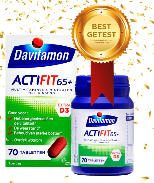 Davitamon Actifit 65+ multivitamine tabletten - Best getest door de consumentenbond op de aanbevolen dosering vitamine D