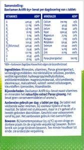 Davitamon Actifit 65+ Tabletten Ingredienten informatie