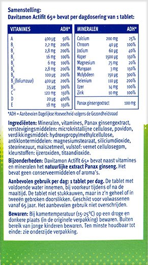 Davitamon Actifit 65+ Tabletten Ingredienten informatie
