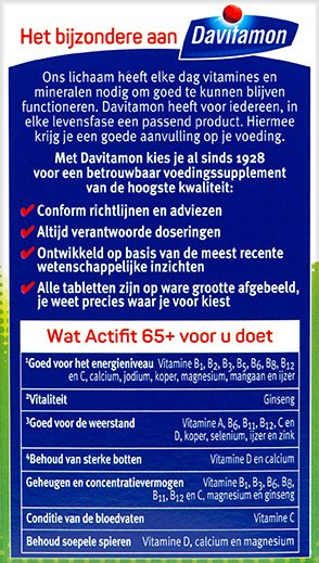Davitamon Actifit 65+ Tabletten Voordelen