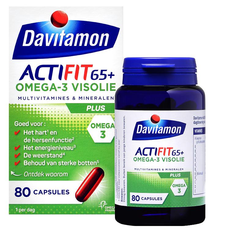 Davitamon Actifit 65+ Visolie Tabletten Verpakking totaal