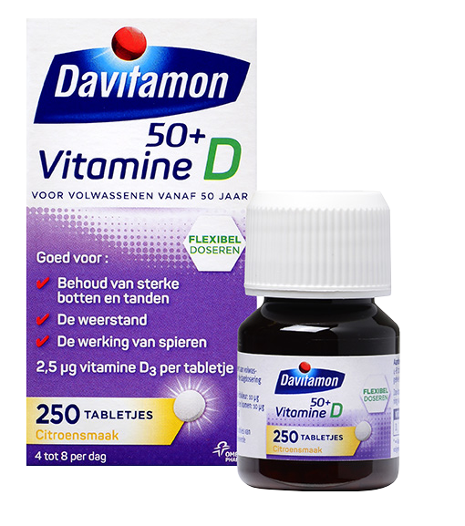 Davitamon Vitamine D 50<sup>+</sup> &#8211; <br>250 tabletjes