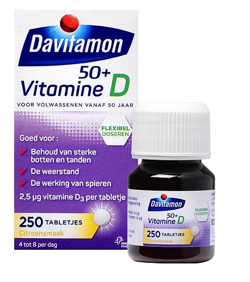 Davitamon Vitamine D 50+ 250 Smelttabletten Verpakking totaal