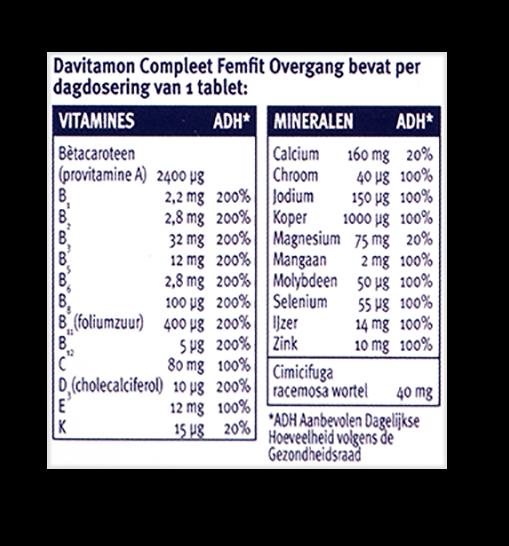 Davitamon Compleet FemFit Overgang Tabletten Dosering