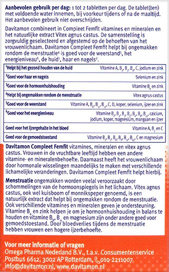 Davitamon Compleet FemFit Tabletten Ingredienten