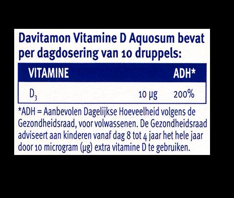 Davitamon Vitamine D Aquosum Druppels Dosering