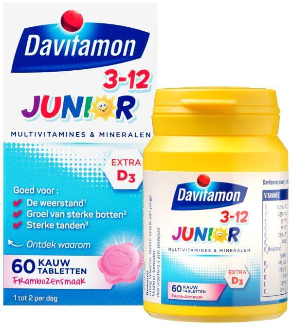 Davitamon Junior 3-12 Framboos – 60 kauwtabletten
