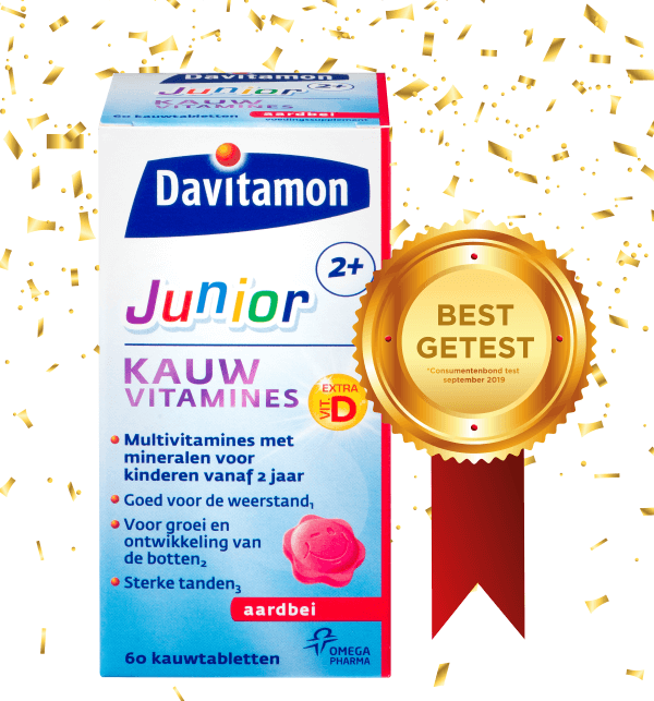 Davitamon Junior 2+ Aardbei – <br>60 kauwvitamines