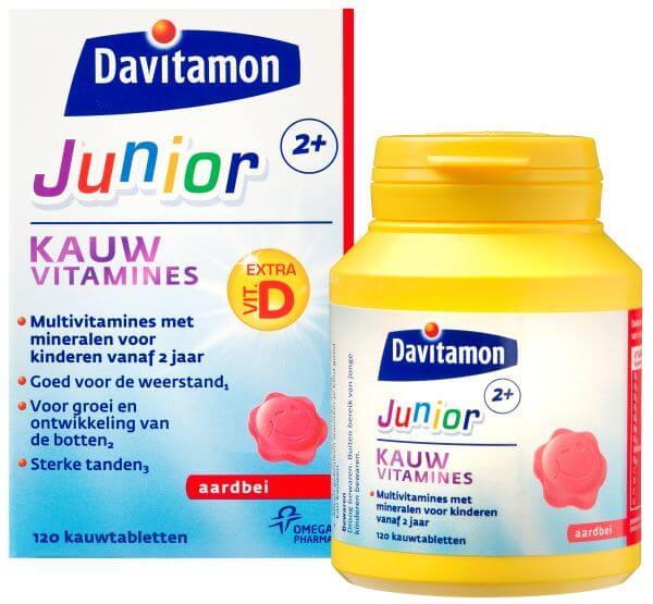 Davitamon Junior 2+ Aardbei – <br>120 kauwvitamines