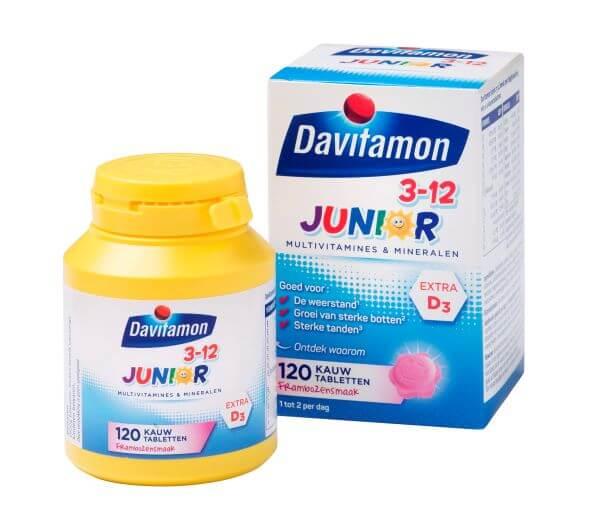 Davitamon Junior 3-12 Framboos – 120 kauwtabletten