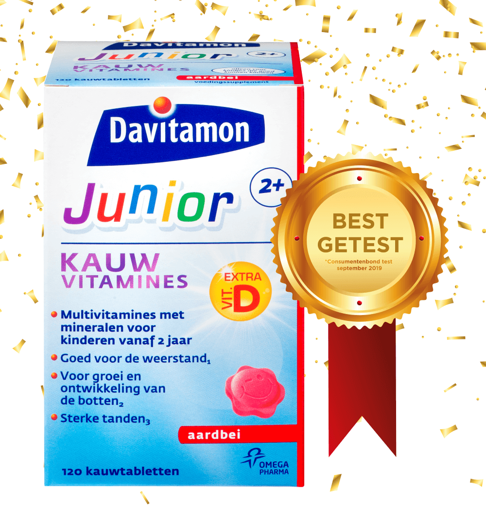 Davitamon Junior 2+ Aardbei – <br>120 kauwvitamines