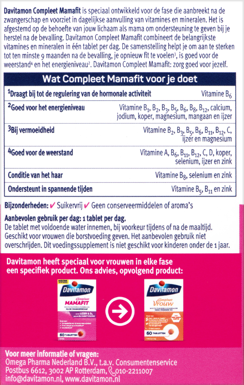 Davitamon Mamafit Tabletten Beschrijving