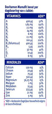 Davitamon Mamafit Tabletten Dosering