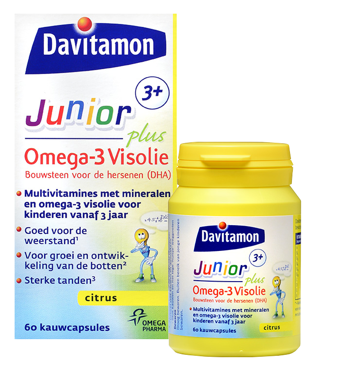 Davitamon Junior 3+ Omega-3 Visolie – 60 Kauwcapsules