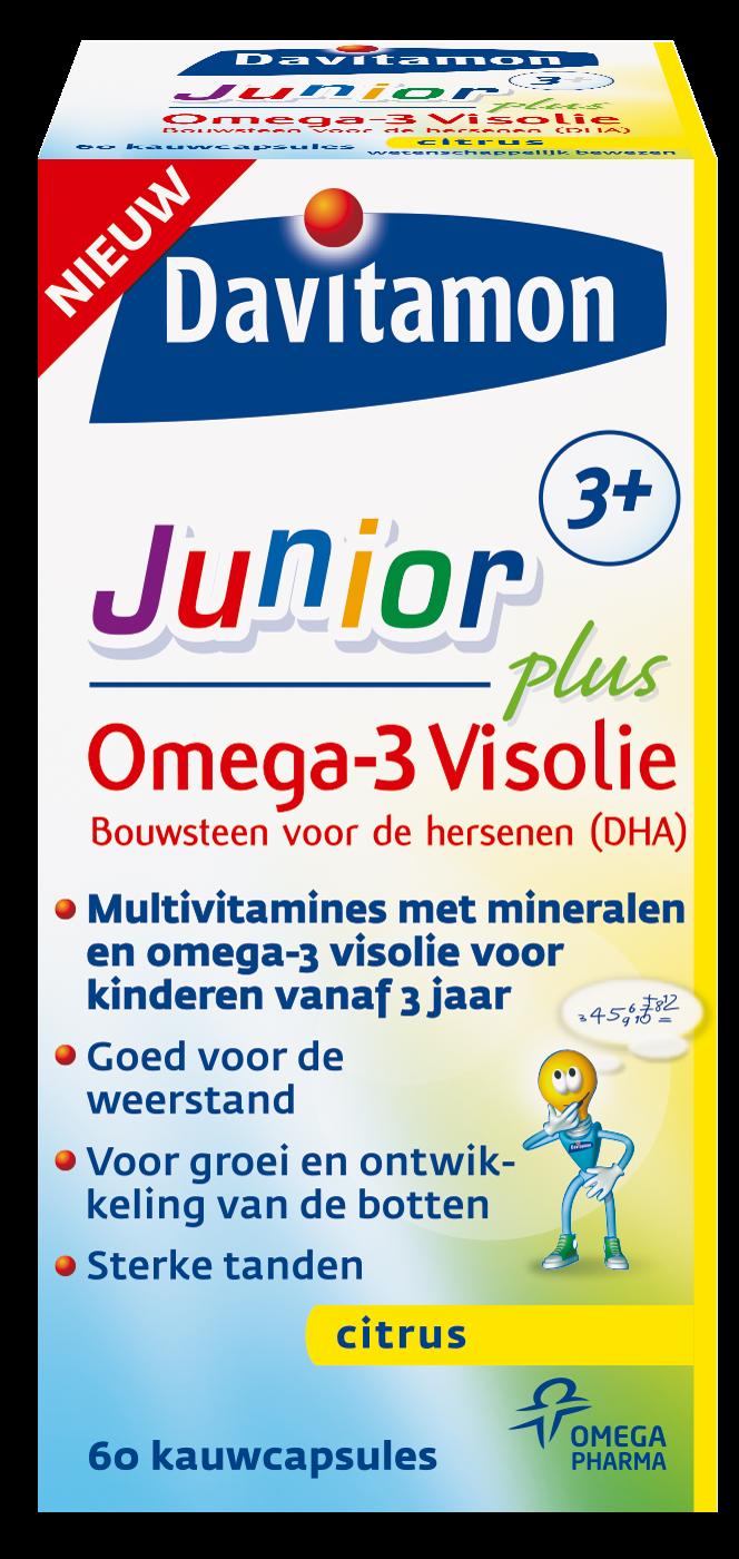 Davitamon Junior visolie Kauwcapsules Verpakking