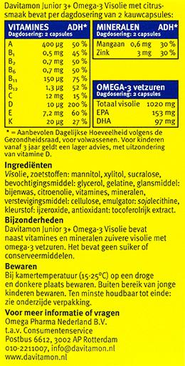 Davitamon Junior visolie Kauwcapsules Ingredienten