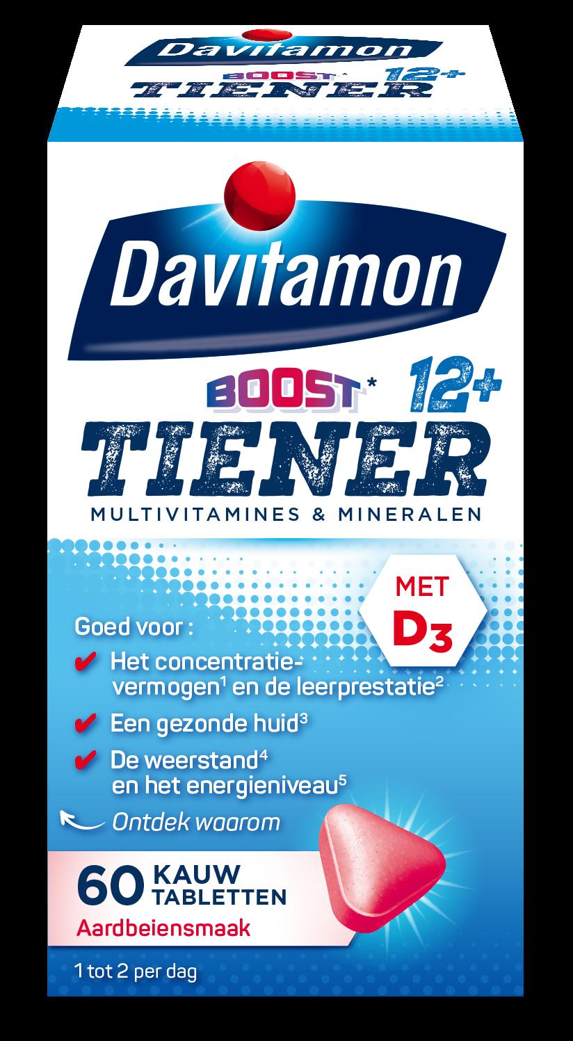 Davitamon Tiener Boost 12+ Aardbei – 60 kauwtabletten