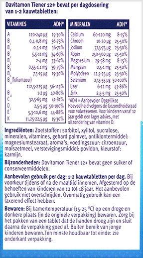 Davitamon Vitamine C Forte Bruistabletten Ingredienten