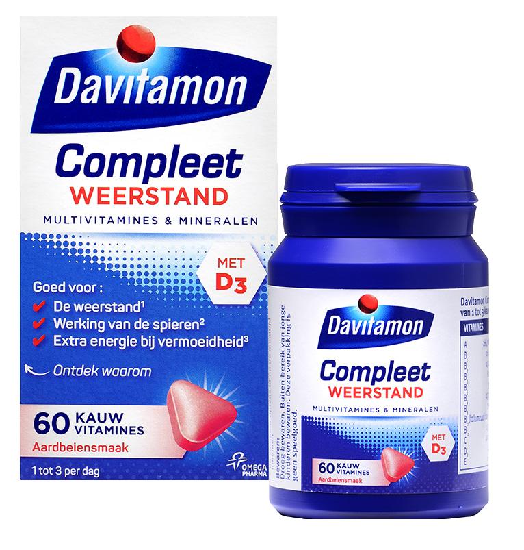 Davitamon Compleet Weerstand Aardbei Kauwvitamines Verpakking totaal