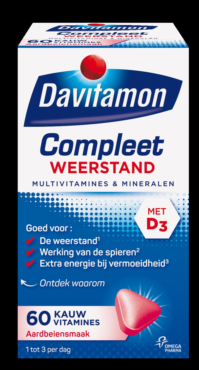 Davitamon Compleet Weerstand Aardbei Kauwvitamines Verpakking