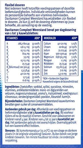 Davitamon Compleet Weerstand Aardbei Kauwvitamines Ingredienten