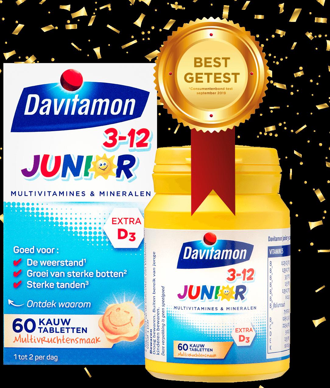 Davitamon Junior 3-12 Multifruit – 60 kauwtabletten