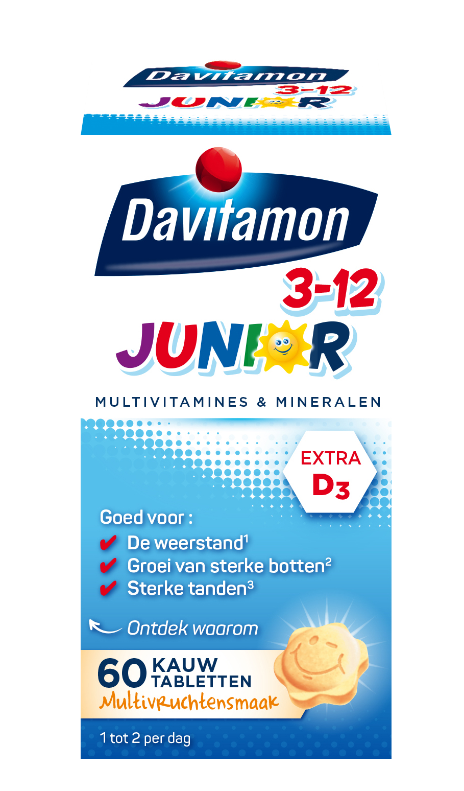 Davitamon Junior 3-12 Multifruit – 60 kauwtabletten