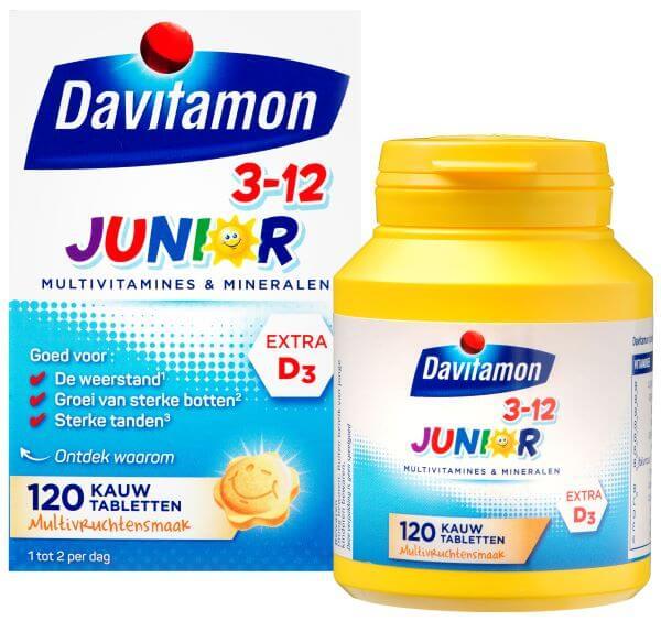 Davitamon Junior 3-12 Multifruit – 120 kauwtabletten