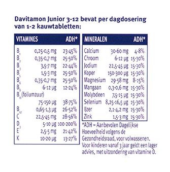Davitamon Junior multifruit Kauwtabletten Dosering 2
