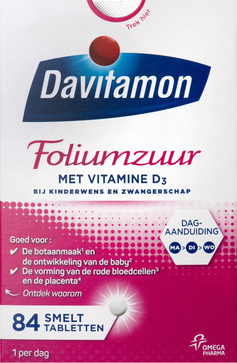 Davitamon Foliumzuur met Vitamine D<sub>3</sub> &#8211; 84 tabletten