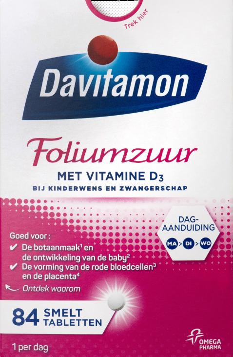Davitamon Foliumzuur met Vitamine D<sub>3</sub> &#8211; 84 tabletten