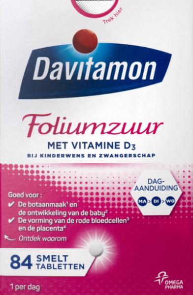 Davitamon Foliumzuur vitamine D3 Smelttabletten Verpakking