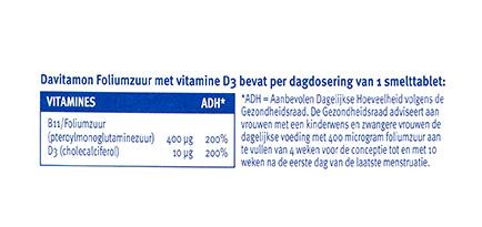 Davitamon Foliumzuur vitamine D3 Smelttabletten Dosering